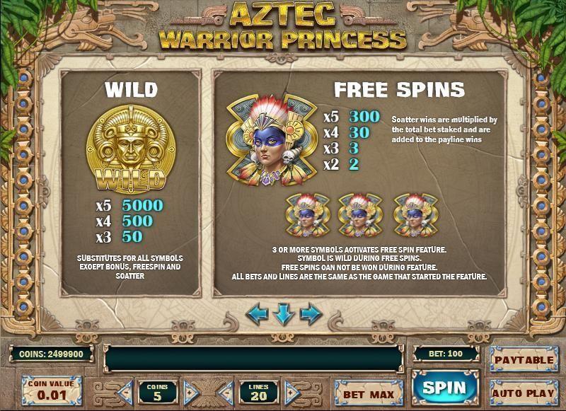 Aztec Warrior Princess Slot Game